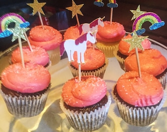 Custom Unicorn CAKE TOPPERS and CUPCAKE Toppers | Custom Dessert Toppers
