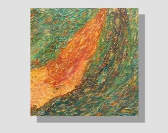 """Peinture abstraite à l'huile sur toile. """"Flot d'émotions"""", tableau carré vert, marron, doré. effet relief. peinture au couteau. art mural"""