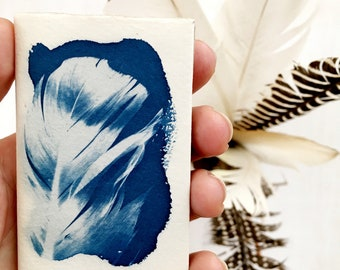 Small Handmade Notebook, Feather Cyanotype, Accordian Blank Page Notepad, Art on Handmade Paper
