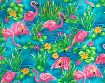 Colorful, summery Pink Flamingoes Aloha Panel-style Shirt handsewn in your size by Dottykins