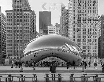Chicago Photography, Chicago The Bean Print, Cloud Gate Chicago, Black And White Chicago, Black And White Wall Art, Architecture, America