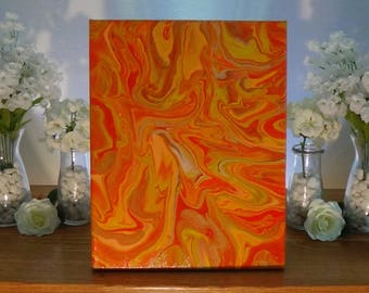 Abstract Psychedelic Swirl Original Orange Painting