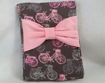 Notebook Journal Cover - Pink and Gray Bicycles with Bow