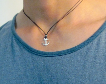 Men's Anchor Necklace - Men's Black Necklace - Mens Necklace - Mens Jewelry - Necklaces For Men - Jewelry For Men - Gift for Him
