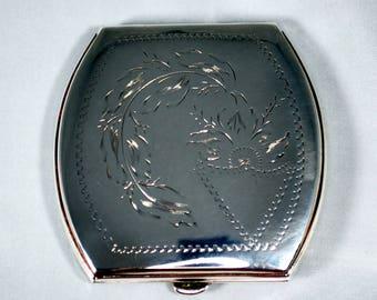 Vintage Sterling poudre compacte; années 1930 Art déco conçu; Photo Momento!