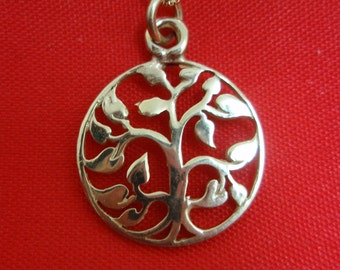 Eden Grden Tree of Life Solid 14k Gold Pendant By Delini Israel Hand Made Art