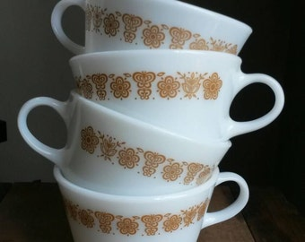 Vintage Pyrex Golden Butterfly Coffee Mugs Set of Four