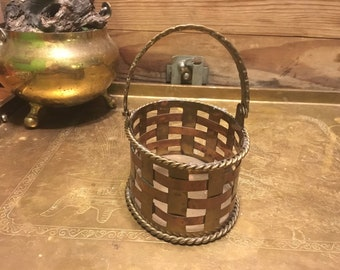 Copper and brass weaved small basket
