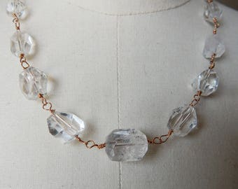 Clear Quartz Faceted Vintage Style Bead Wire Link Necklace