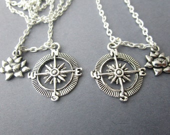 2 Lotus and Compass, Best Friends Necklaces/ Graduation Gift, Moving Away Gift, Mother Daughter, Long Distance, Travel, Far Away