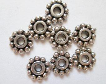 50 pcs Antique Silver Spacers 7 mm, Lead, Nickel & Cadmium Free Jewelry Findings, metal findings