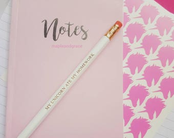 School supplies 'My unicorn ate my homework' Quote pencils school pencils writing back to school uni supplies quirky stationery fun gift