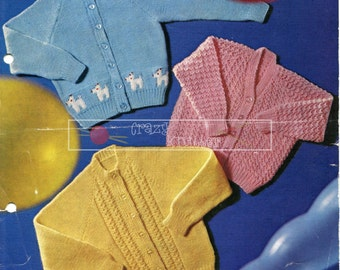 Baby Toddler Cardigans DK 18-20in. Lawton's 331 Vintage Knitting Pattern PDF instant download