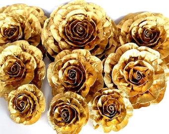 9 gold large giant paper flowers wall decor kate baby shower gold large giant paper flowers wedding shower bridal gold graduation anniversary bachelorette paris backdrop wedding birthday nursery wall mightylinksfo