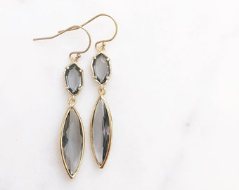 MAXWELL | Gray Stone Earrings | Gold + Gray Stone Dangle Earrings | Gray Bridesmaid Earrings | Grey Earrings | Gold Marquise Earrings