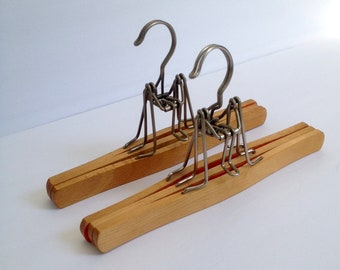 2 Wood double Pant / Skirt Hangers made of Beech Wood, 10 1/2 inches long