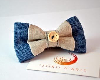 Handmade bow tie made up of pure linen and jute: vintage style!
