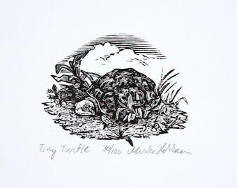Turtle Art Print, Original Hand Pulled Engraving
