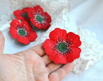 Red poppy textile brooch Fabric flower jewelry Single flower hand made brooch Machine embroidery poppy brooch Unique textile flower brooch.