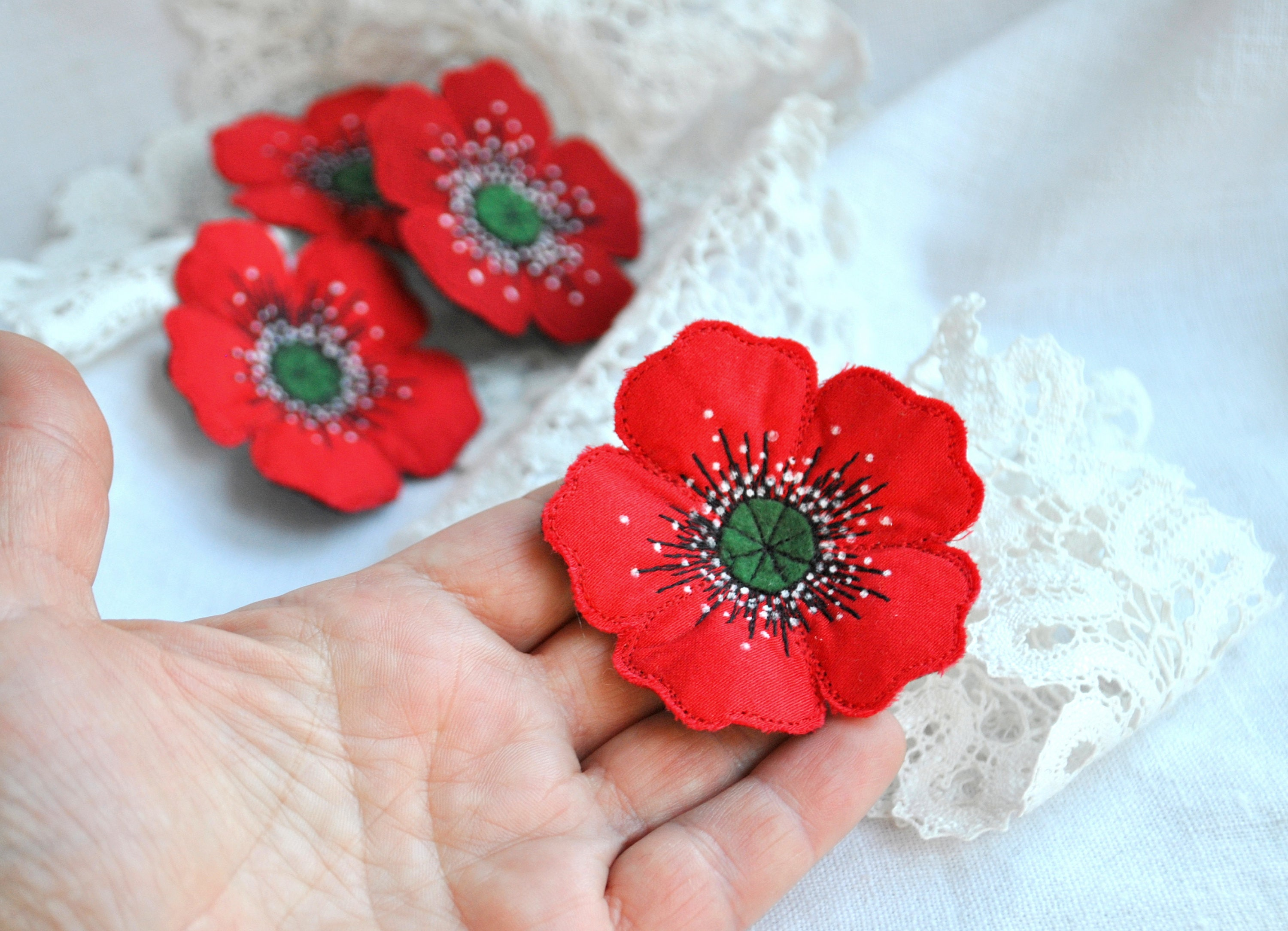 Red Poppy Textile Brooch Fabric Flower Jewelry Single Flower