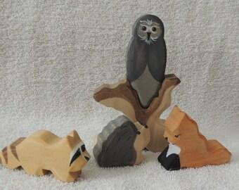Woodland Animals wooden waldorf style