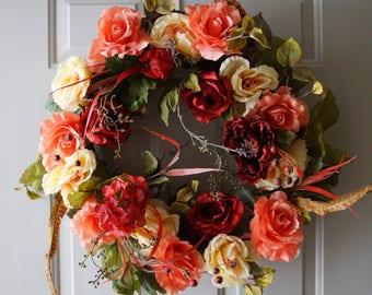 Large Wreath, Roses Hydrangea Wreath Peach Red Burgundy Peony Chrysanthemum