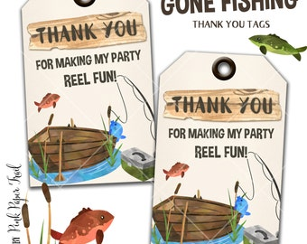 Gone Fishing, Fishing Party Thank You Tags, Instant Download, Print Your Own