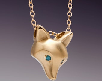 14 k GOLD fox pendant  ,royal blue DIAMOND eyes ( or pick a color),  14k gold   chain  18""