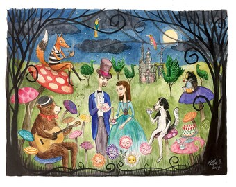 Custom Family Portrait, Watercolor Portrait, Family Painting, Family Portrait, Tim burton, alice in wonderland, edward gorey, wizard of oz