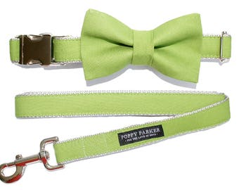 Dog Bow Tie - Bright Grass Green - Optional Matching Collar and Leash - Dog In Wedding