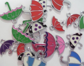 Bulk 20CT Silver Toned Variety Package of Enamel Umbrella Charms, Y31