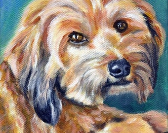 Original custom dog portrait painting from your own photo, oil painting on canvas, pet portrait or any animal, example Cyprus Poodle
