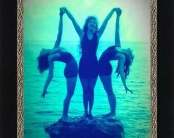VINTAGE BATHING BEAUTIES: Three Sirens on Rock circa 1920 -  Giclee Fine Art Print of Enhanced Vintage Photo