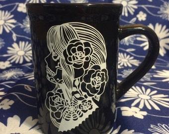 Sugar skull coffee cup, sugar skull