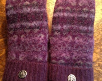 Wool Felted & Cashmere Recycled Sweater Mittens/Purple Mittens/Mittens from Recycled Sweaters,Fleece Lined/Womens and Teen Mittens/Handmade