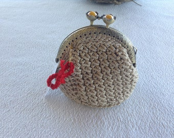 """Crochet coin purse lined with fabric 8,5 cm (3.35"""") theomez"""