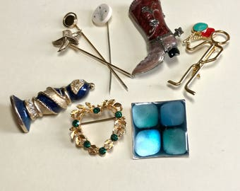 Lot of eight vintage brooches, rhinestone pins, enamel pin, stick pins, novelty pins, vintage jewelry lot, gold pins 1970s-1980s