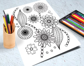 Flower Adult Coloring Page, Printable Floral Colouring Pages, Zen Doodle Art, Mandala
