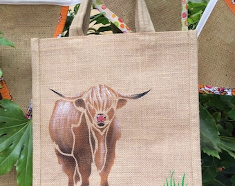 Highland Coo hand painted jute bag