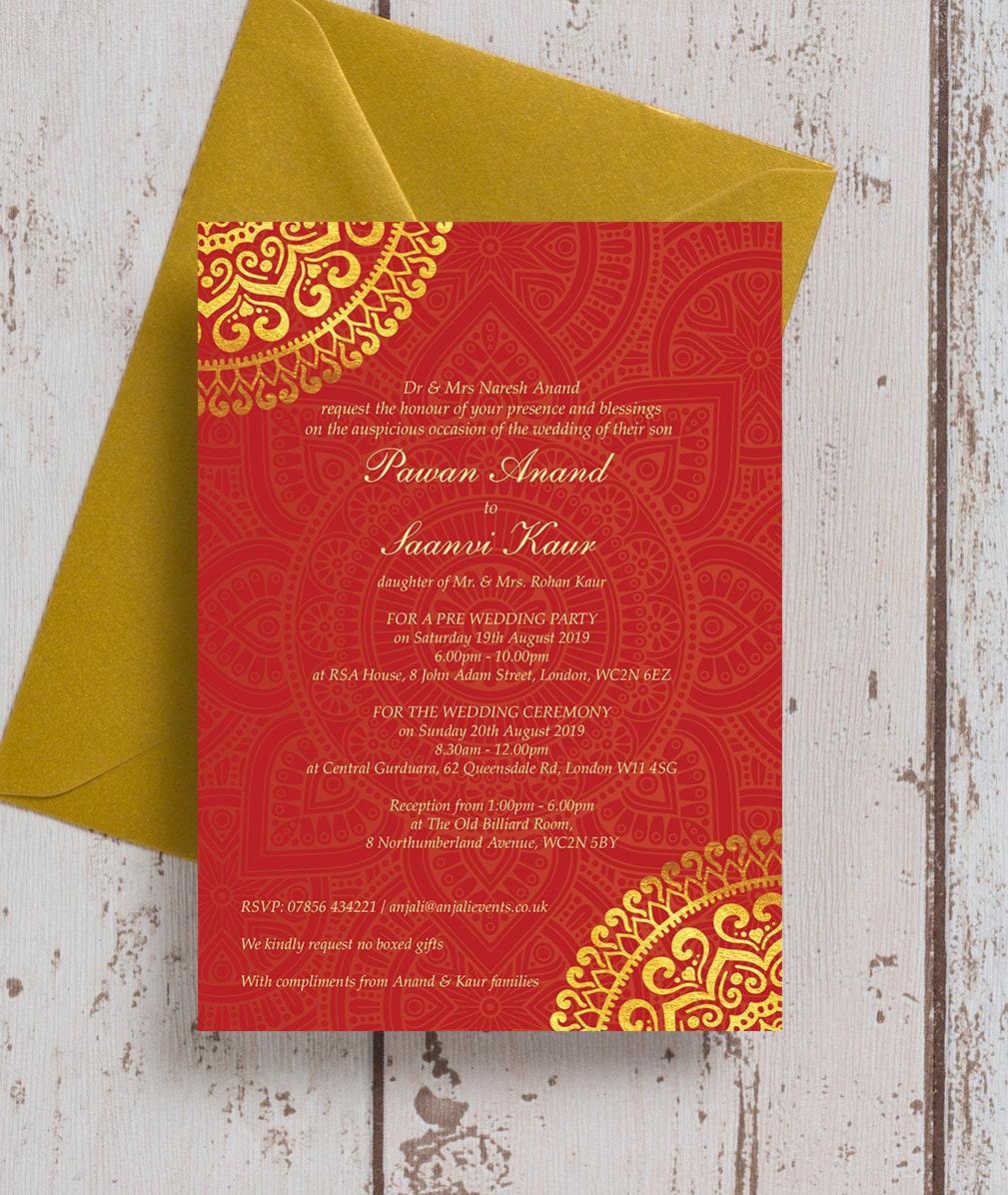 Personalised Red & Gold Mandala Asian Wedding Mehndi