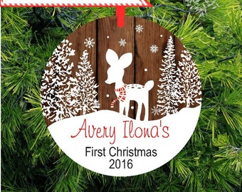 Baby Ornament | Baby's First Christmas Ornament | Fawn Deer Personalized Christmas Ornament | Personalized New Baby Gift |  lovebirdslane