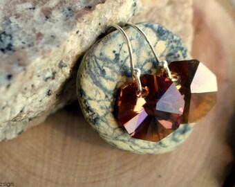Swarovski crystal and sterling silver dangle earrings- handmade geometric minimal earrings - whiskey tone crystal - triskell design