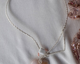 delicate white agate heart pendant collar statement silver plated wire wrapped necklace
