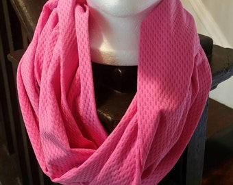 "52"" Pink Infinity Scarf - Warm, Soft & Cozy - Cotton Blend Material"
