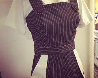 Sale Darling 1940s style Rosie romper M Lightweight brown pinstripe twill