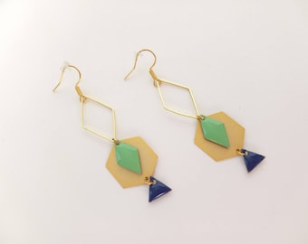 Gold Mint and dark blue earrings