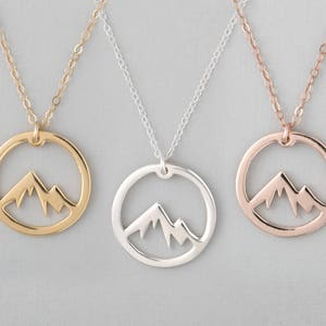Mountain Necklace, Circle Mountain Necklace, Mountain Pendant Necklace, Mountain Charm Necklace, Mountain Jewelry