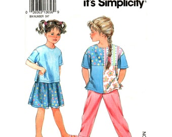 Girls Casual Top, Pull On Pants or Skirt Pattern Simplicity 8234 Girls Size 2 3 4 5 6 6X Sewing Pattern UNCUT