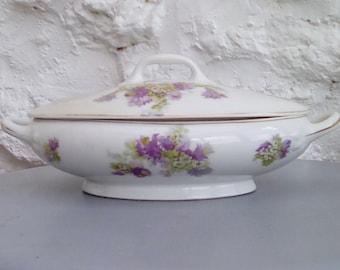 French vintage Limoges serving dish, tureen, lidded bowl.