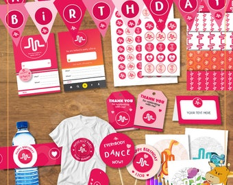 Musical.ly Birthday Package, invitations, tags, banners, bottles labels for musically party - Digital files - Instant Download